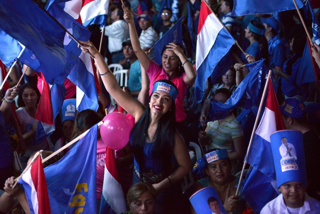 Ganar Alliance political party supporters attend the closing rally for presidential candidate Efrain Alegre in Capiata, Paraguay, Thursday, April 19,