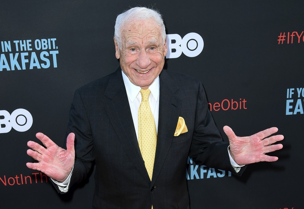 """FILE - In this May 17, 2017 file photo, Mel Brooks attends the LA Premiere of """"If You're Not In The Obit, Eat Breakfast"""" in Beverly Hills, Calif. This..."""
