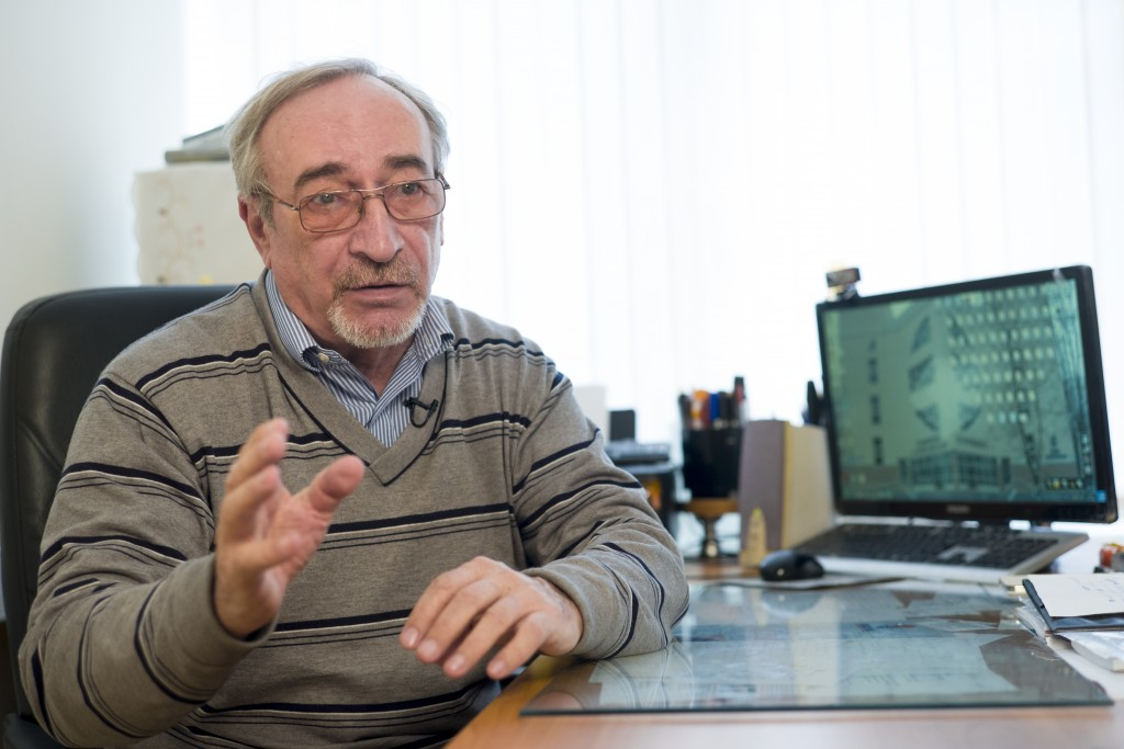 In this photo taken on Wednesday, April 11, 2018, Russian scientist Leonid Rink speaks during his interview to the Associated Press in Moscow, Russia....