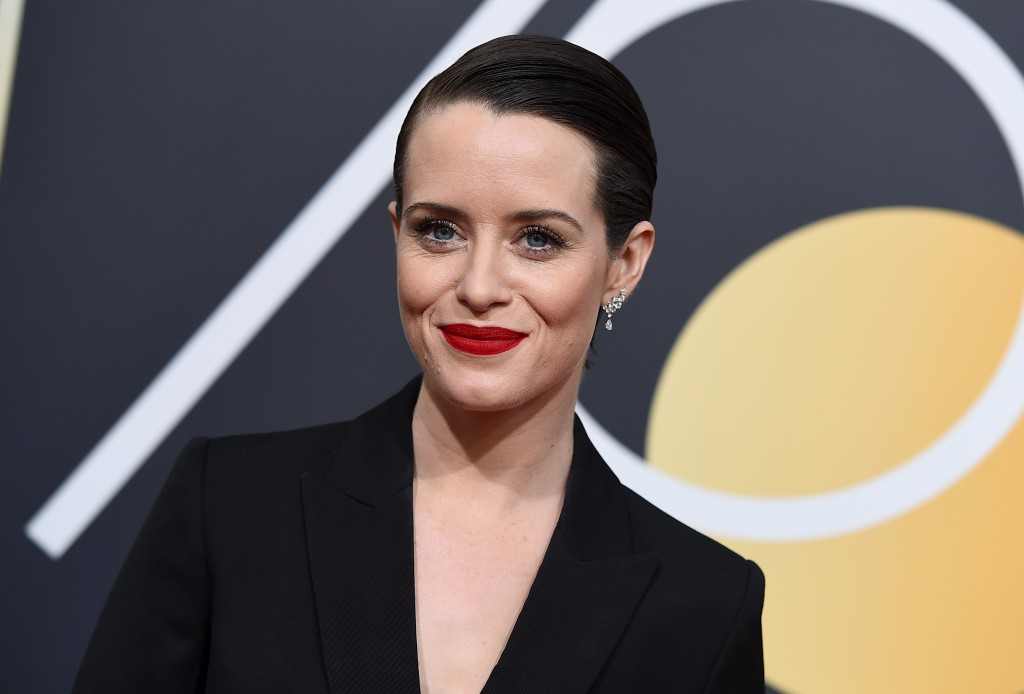 FILE - In this Jan. 7, 2018, file photo, Claire Foy arrives at the 75th annual Golden Globe Awards at the Beverly Hilton Hotel in Beverly Hills, Calif...