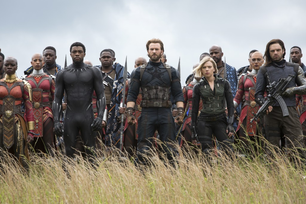 This image released by Marvel Studios shows, front row from left, Danai Gurira, Chadwick Boseman, Chris Evans, Scarlet Johansson and Sebastian Stan in...