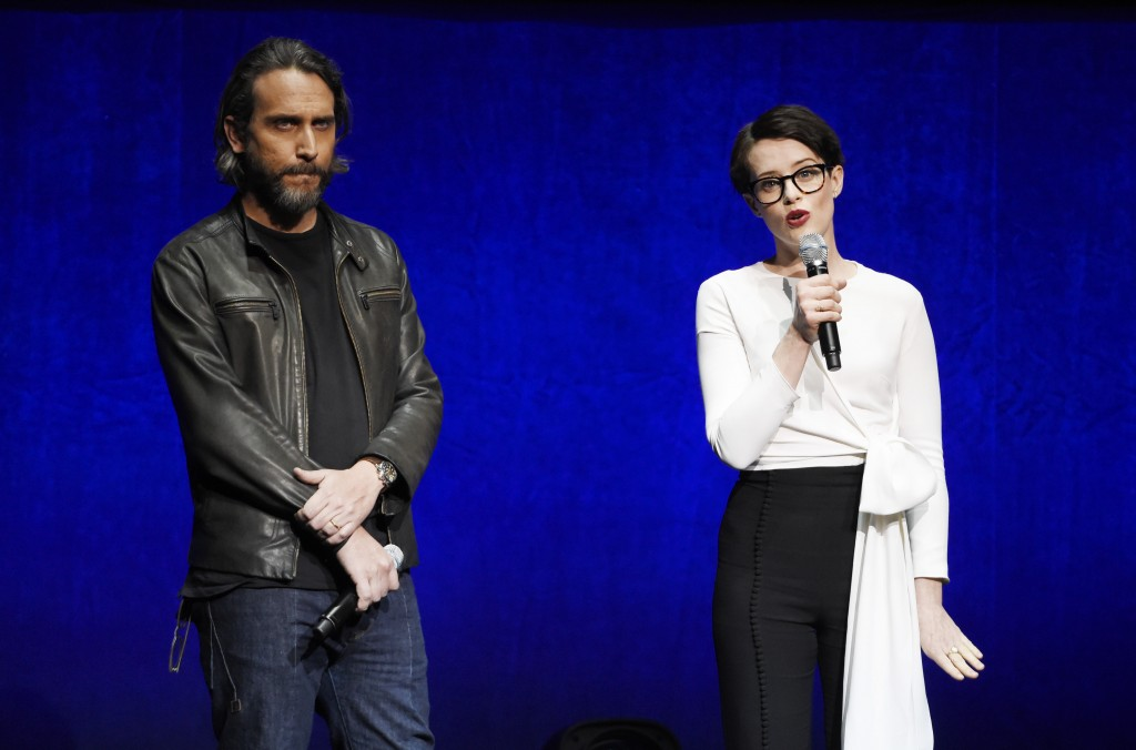 """Fede Alvarez, left, director/co-writer of the upcoming film """"The Girl in the Spider's Web,"""" and star Claire Foy discuss the film onstage during the So..."""