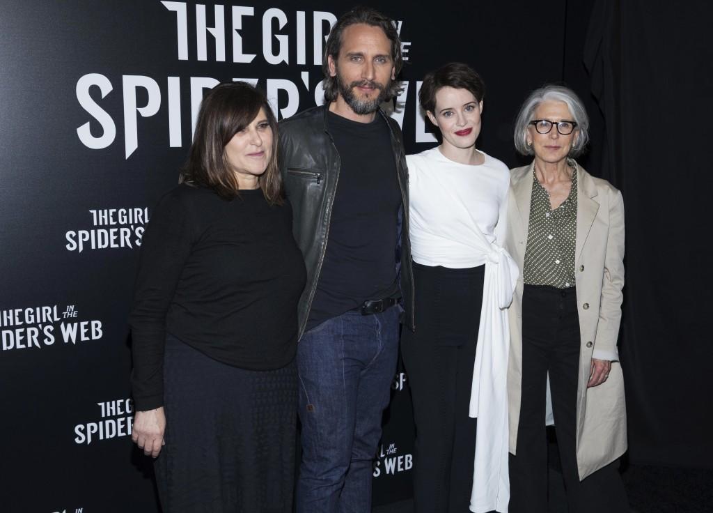 Amy Pascal, left, Fede Alvarez, Claire Foy and Elizabeth Cantillon attend CinemaCon at The Colosseum at Caesars, Monday, April 23, 2018, in Las Vegas....