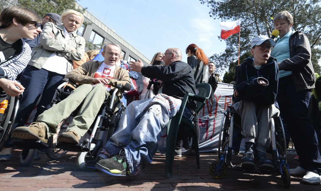 Parents  of disabled adults picket in front of the parliament building to demand higher allowances for the care for their children and to protest gove...