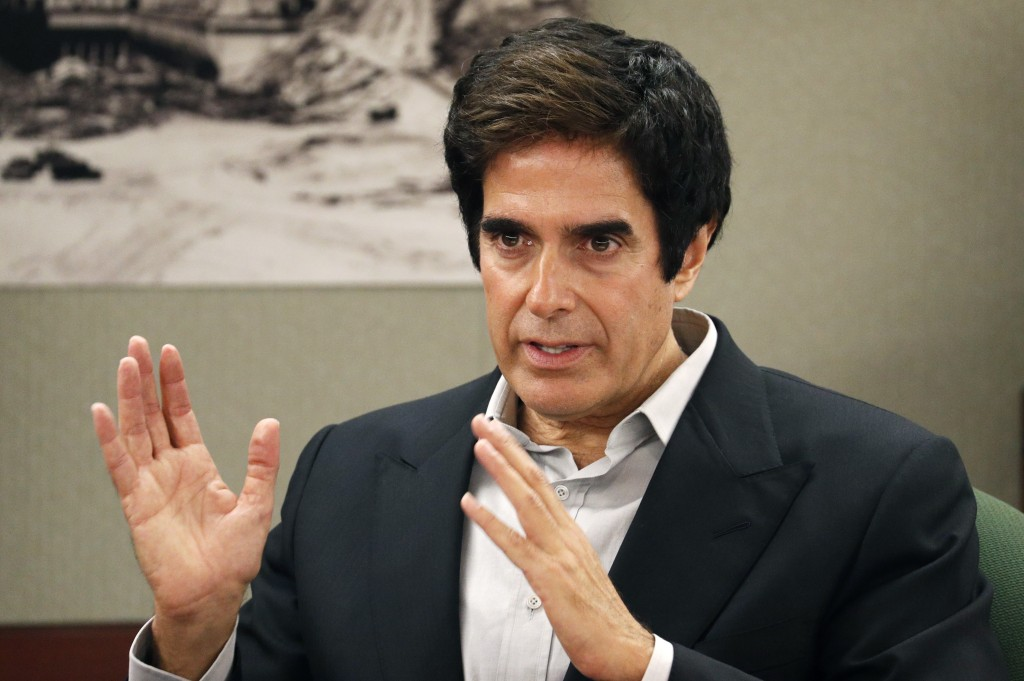Illusionist David Copperfield appears in court Tuesday, April 24, 2018, in Las Vegas. Copperfield testified in a negligence lawsuit involving a Britis...