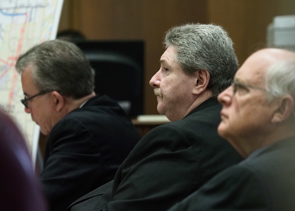 Charles Pickett Jr. listens to testimony during his murder trial, Wednesday, April 25, 2018, in Kalamazoo, Mich. Pickett is accused of driving under t...