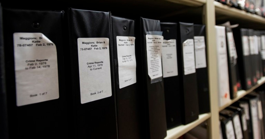 This undated photo released by the FBI shows part of East Area Rapist Crime reports at the Sheriff's department evidence room in Sacramento, Calif. Vo...