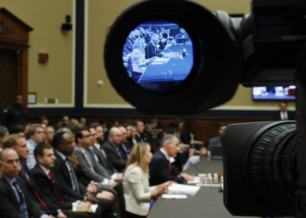 Environmental Protection Agency Administrator Scott Pruitt is seen through a television camera viewfinder while testifying before the House Energy and...