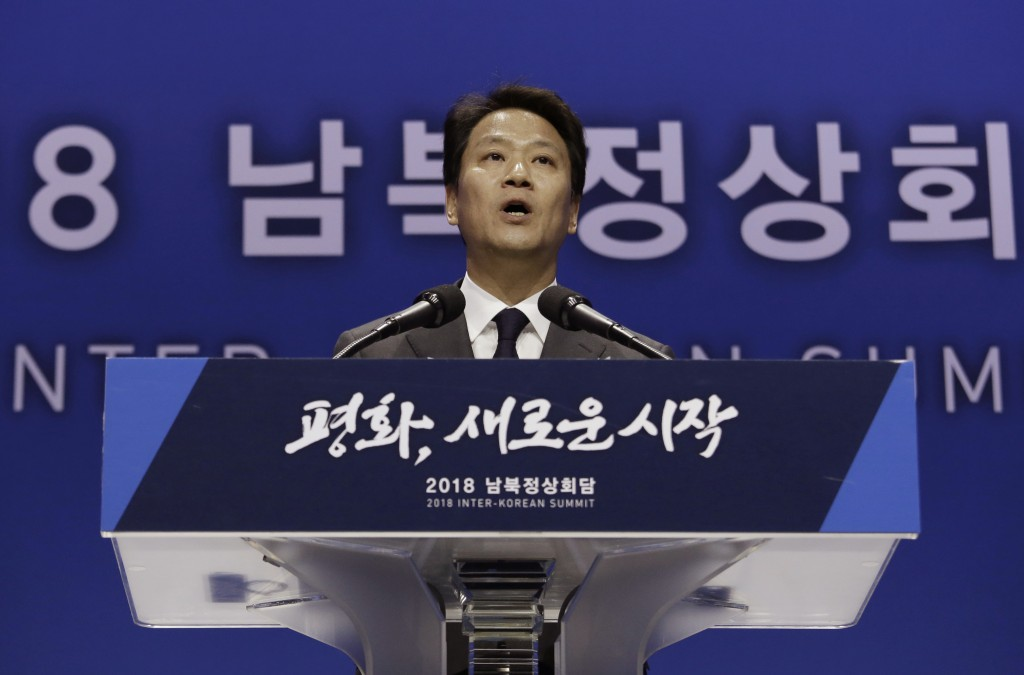 South Korean President Moon Jae-in's chief of staff Im Jong-seok speaks during a press conference in Goyang, South Korea, Thursday, April 26, 2018. Se...