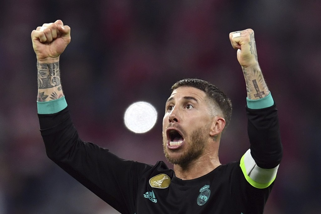 Madrid's Sergio Ramos celebrates after his team won  the soccer Champions League first leg semifinal soccer match between FC Bayern Munich and Real Ma...
