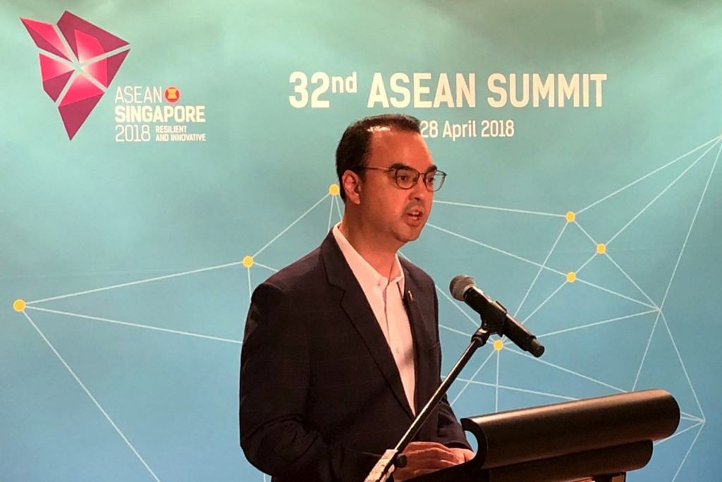 Philippines Foreign Affairs Secretary Alan Cayetano speaks to reporters during a media briefing on the sidelines of the 32nd ASEAN Summit on Thursday,...