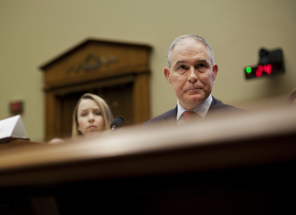 Environmental Protection Agency Administrator Scott Pruitt testifies before the House Energy and Commerce subcommittee hearing on Capitol Hill in Wash...