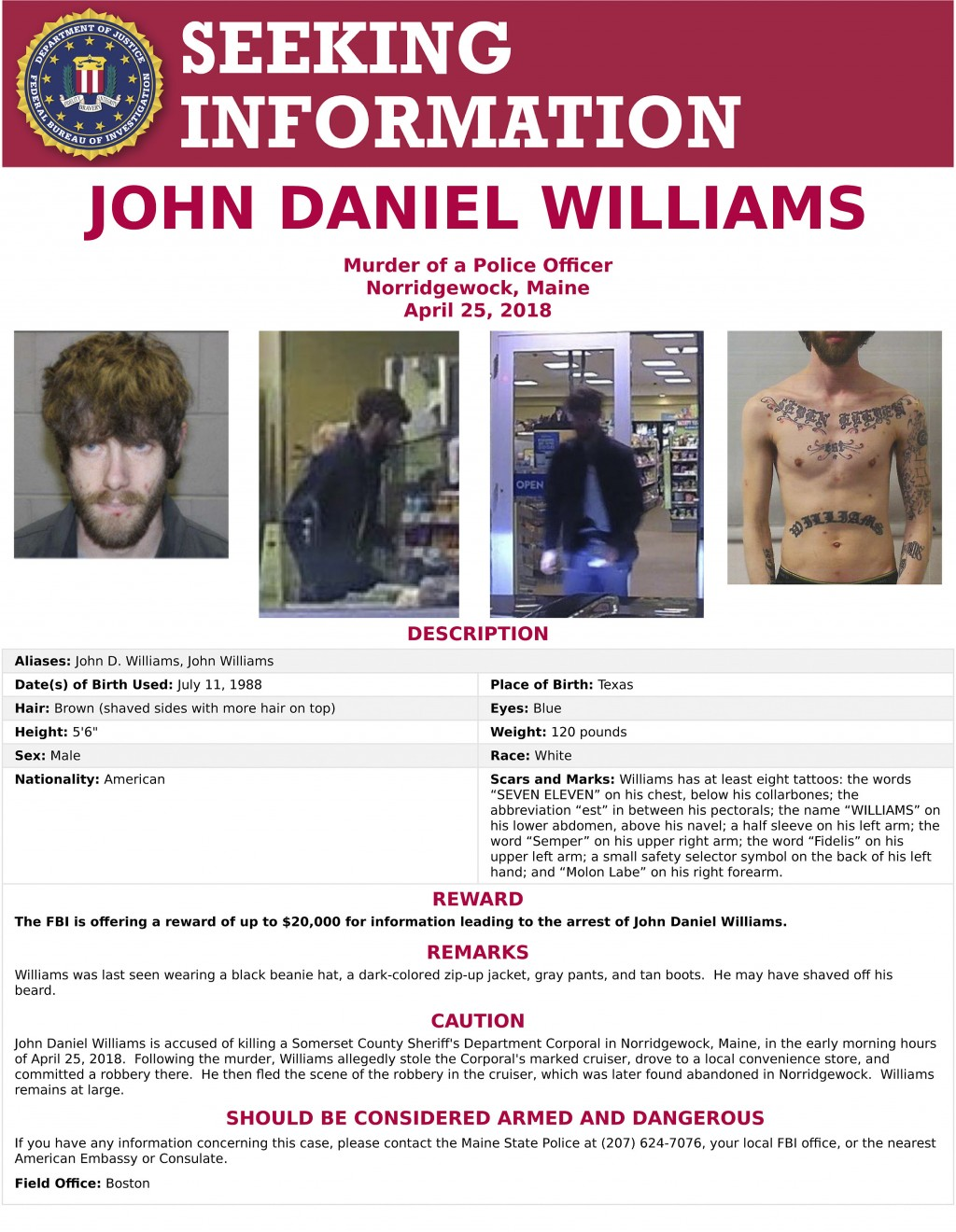 This undated image released Thursday, April 26, 2018, by the Federal Bureau of Investigation shows a wanted poster for John Williams. Authorities are ...