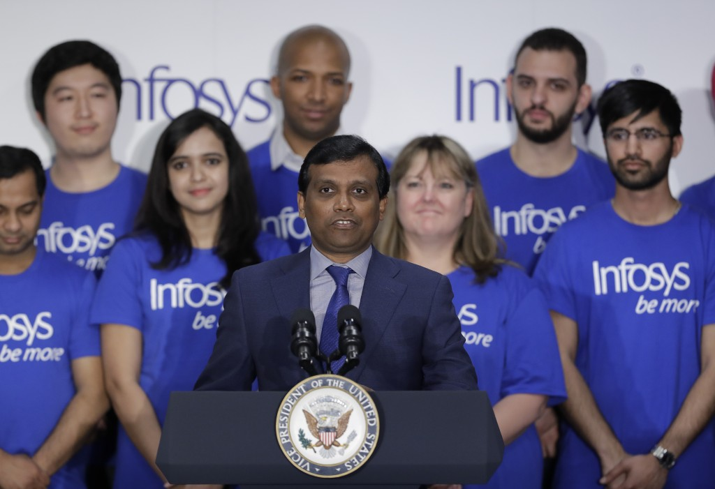 Ravi Kumar, president of Infosys, speaks during a Infosys economic development announcement, Thursday, April 26, 2018, in Indianapolis. The India-base...
