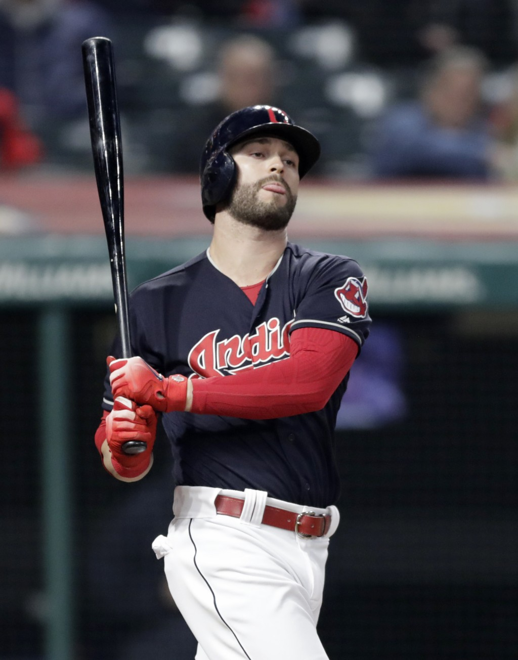 Cleveland Indians' Tyler Naquin reacts after striking out in the eighth inning of the team's baseball game against the Seattle Mariners, Thursday, Apr...