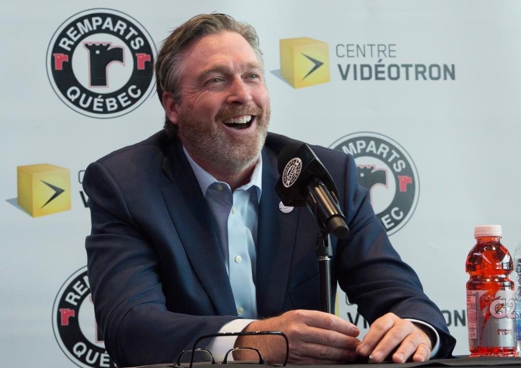 Patrick Roy announces his comeback with the Quebec Remparts of the Quebec Major Junior Hockey League in Quebec City, Quebec, Thursday, April 26, 2018....