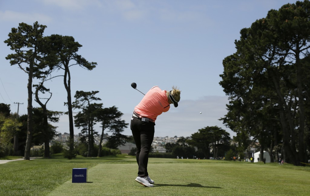 Brooke Henderson, of Canada, hits from the second tee of the Lake Merced Golf Club during the first round of the LPGA Mediheal Championship golf tourn...