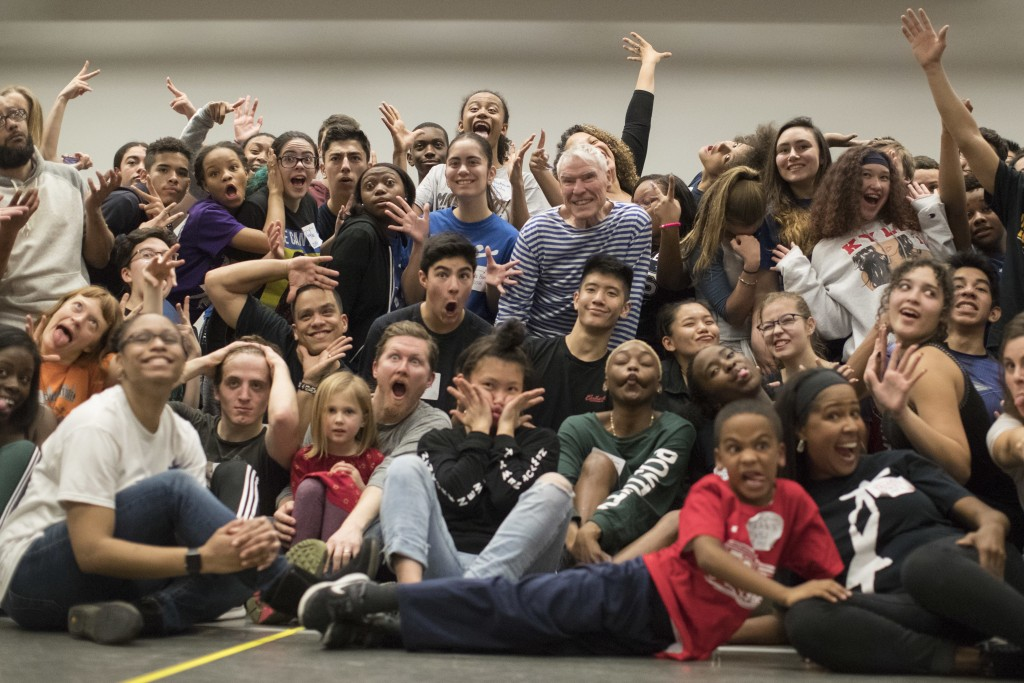 In this March 3, 2018 photo, National Dance Instiute founder Jacques d'Amboise, center, poses for a group photo with current and former students durin...