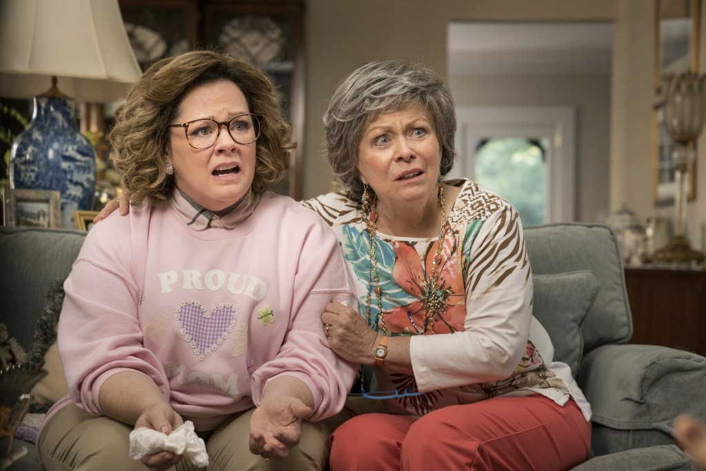 """This image released by Warner Bros. Pictures shows Melissa McCarthy, left, and Jacki Weaver in a scene from """"Life of the Party,"""" in theaters on May 11..."""