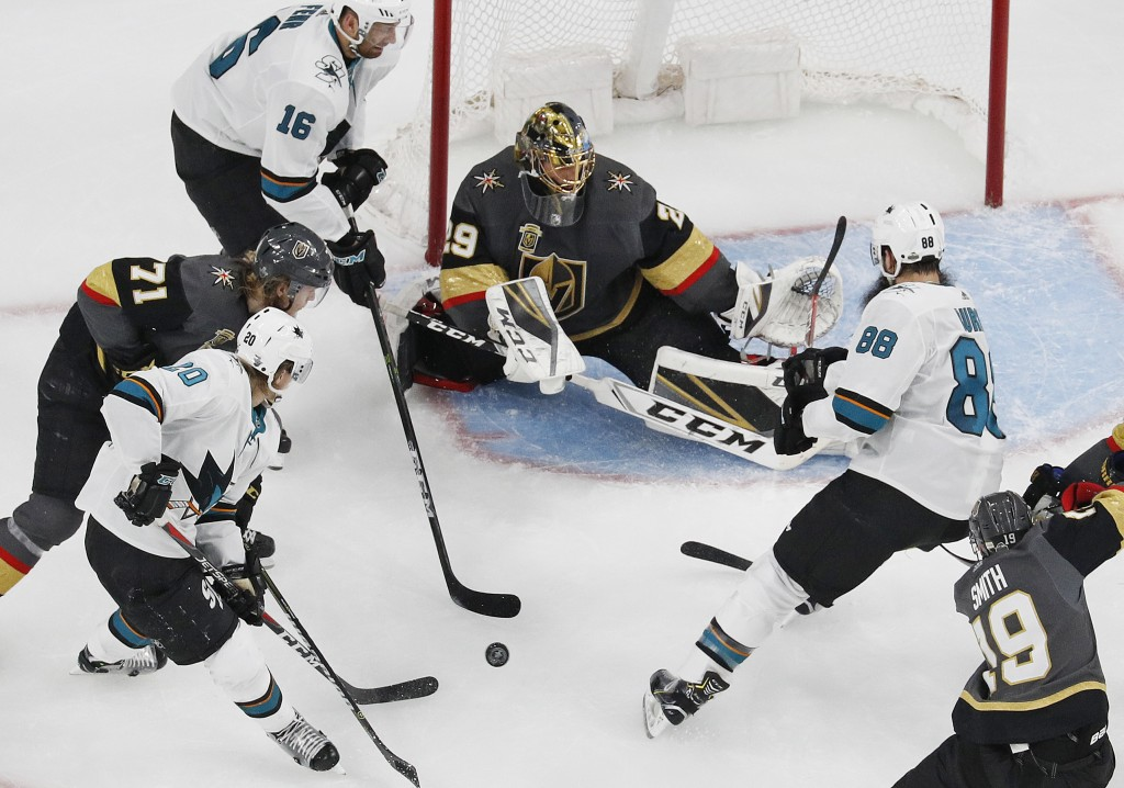 Vegas Golden Knights goaltender Marc-Andre Fleury (29) blocks a shot by the San Jose Sharks during the second period of Game 1 of an NHL hockey second...