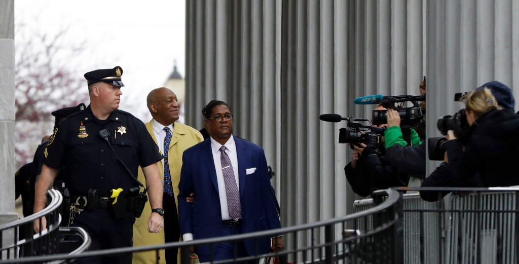 FILE - In this April 24, 2018 file photo, Bill Cosby departs after his sexual assault trial at the Montgomery County Courthouse in Norristown, Pa. On ...