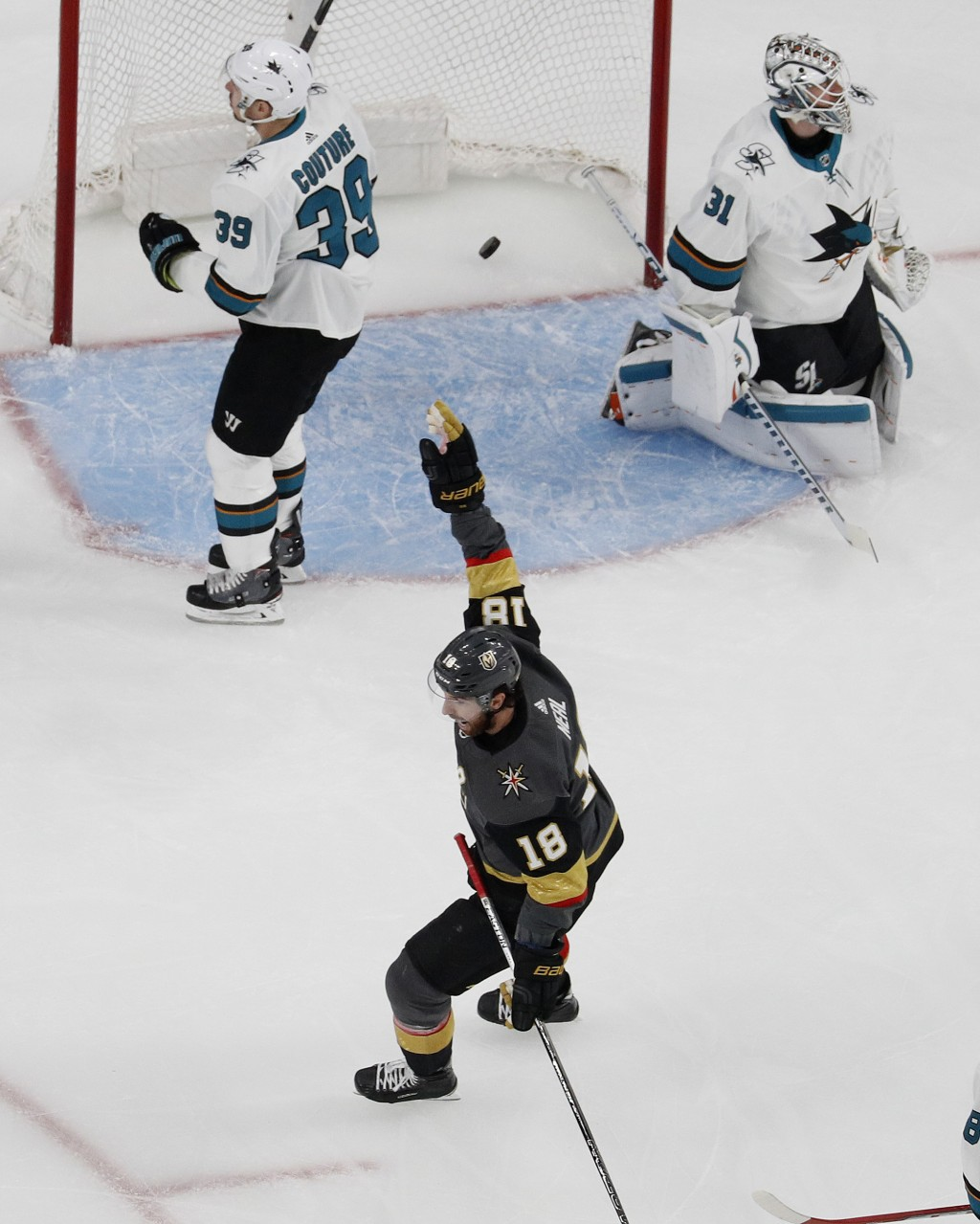 Vegas Golden Knights left wing James Neal (18) celebrates after his team scored against the San Jose Sharks during the first period of Game 1 of an NH...