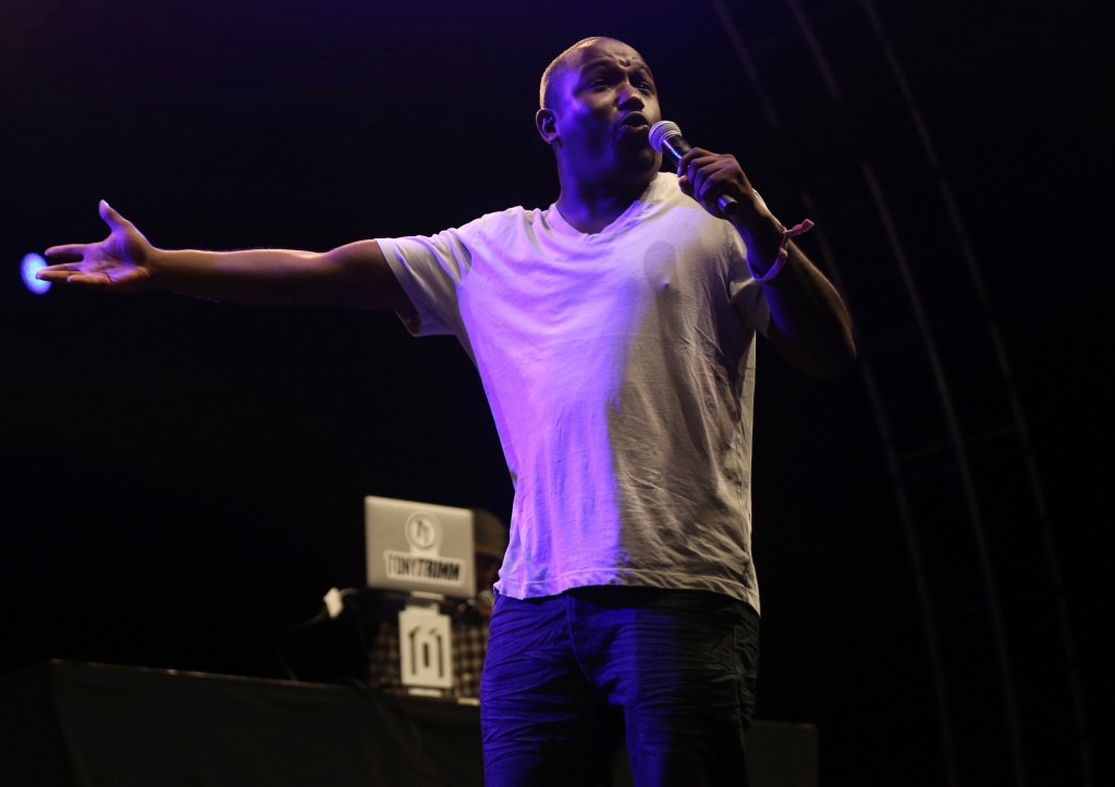 FILE - In this July 22, 2017 file photo, Hannibal Buress performs at the FYF Fest in Los Angeles. The path to comedian Bill Cosby's conviction of drug...