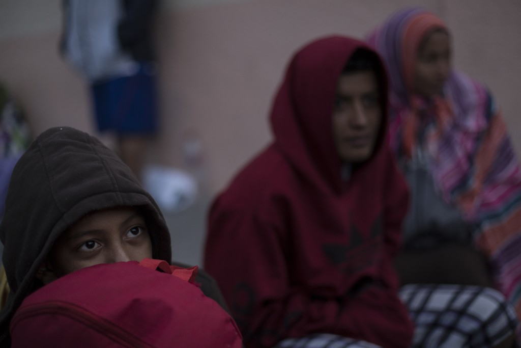 Central American migrants traveling with a caravan rest at the Salvation Army shelter for men upon arrival to Tijuana, Mexico, Thursday, April 26, 201...