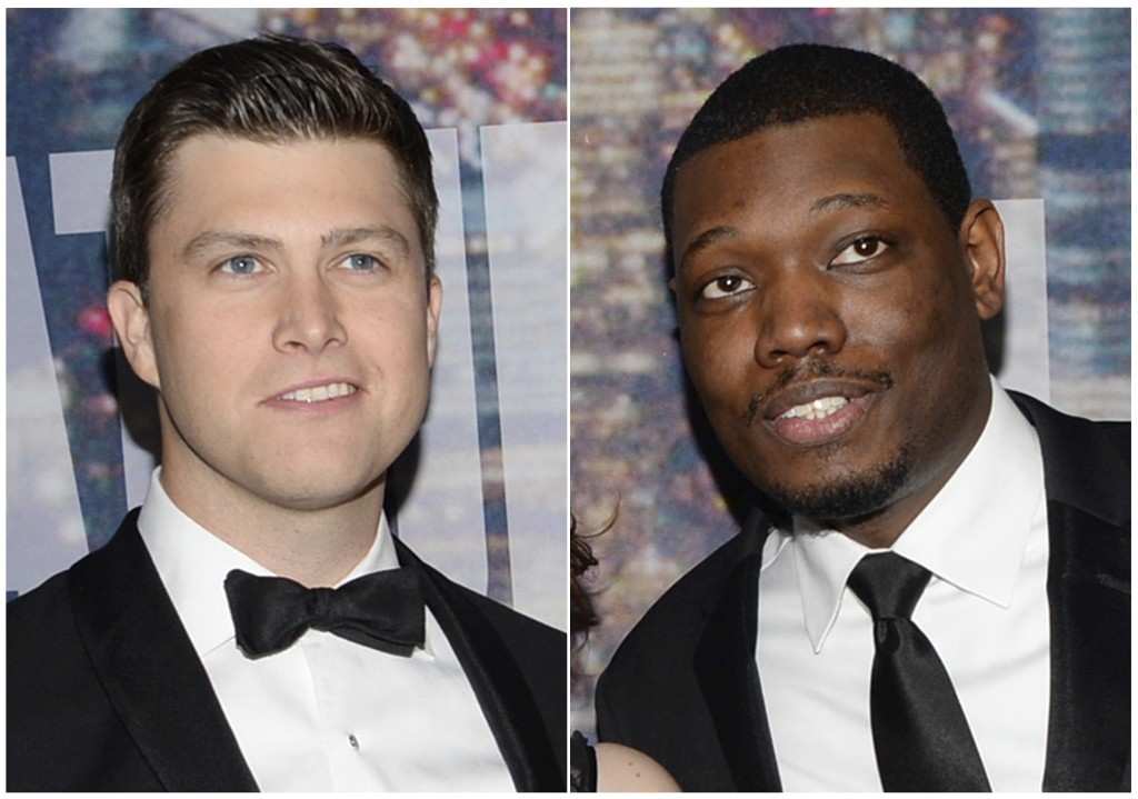 This combination photo shows Colin Jost, left, and Michael Che at the Saturday Night Live 40th Anniversary Special in New York on Feb. 15, 2015. NBC s...