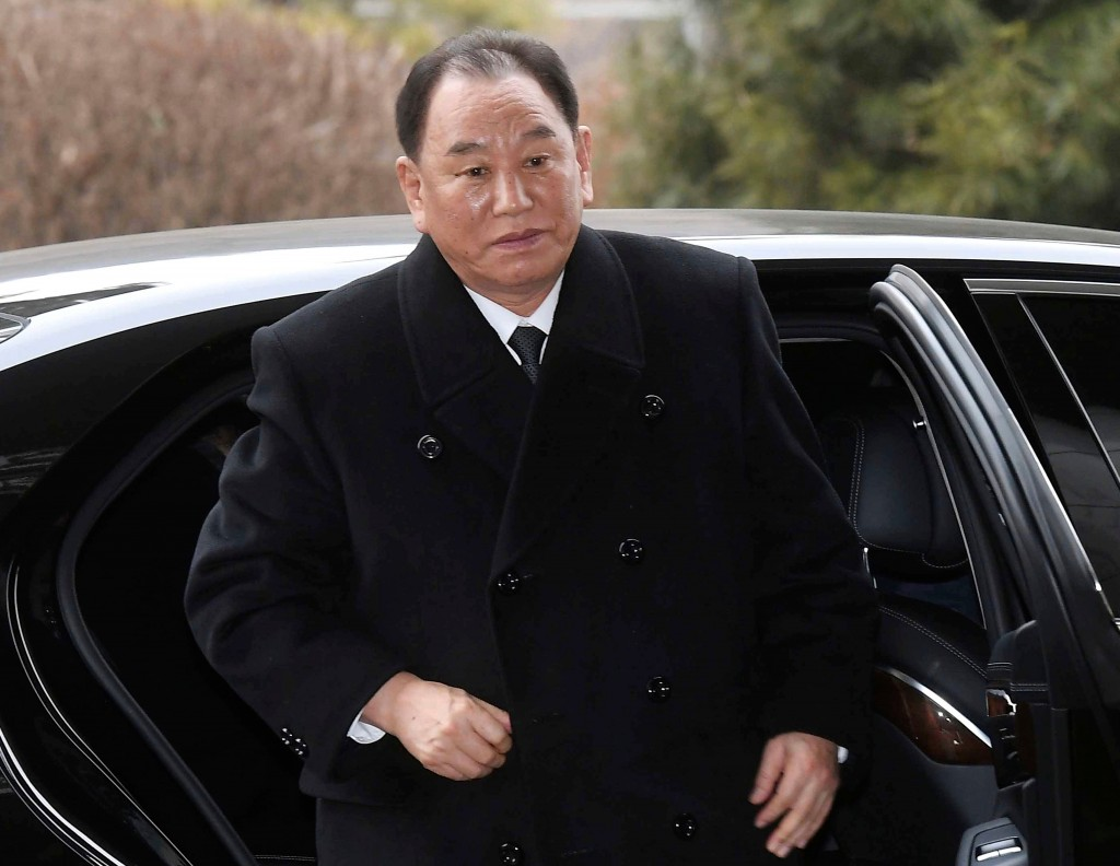 FILE - In this Feb. 27, 2018, file photo, Kim Yong Chol, vice chairman of North Korea's ruling Workers' Party Central Committee, gets off a car at the...