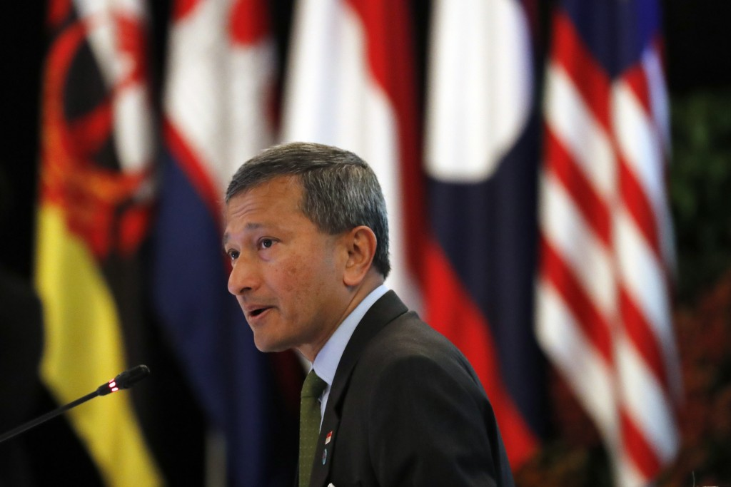 Singapore's Minister of Foreign Affairs, Dr Vivian Balakrishnan, delivers the opening address at the ASEAN Foreign Minister's Meeting at the 32nd ASEA...