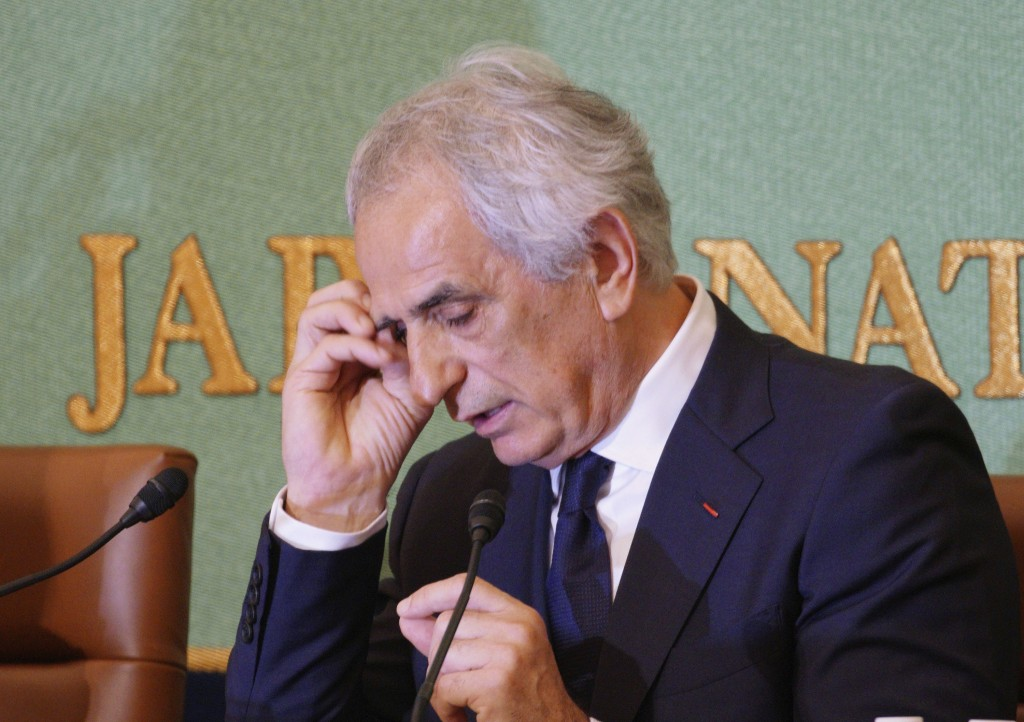 Former Japanese men's national soccer coach Vahid Halilhodzic speaks during a press conference in Tokyo Friday, April 27, 2018. Japan fired Halilhodzi...