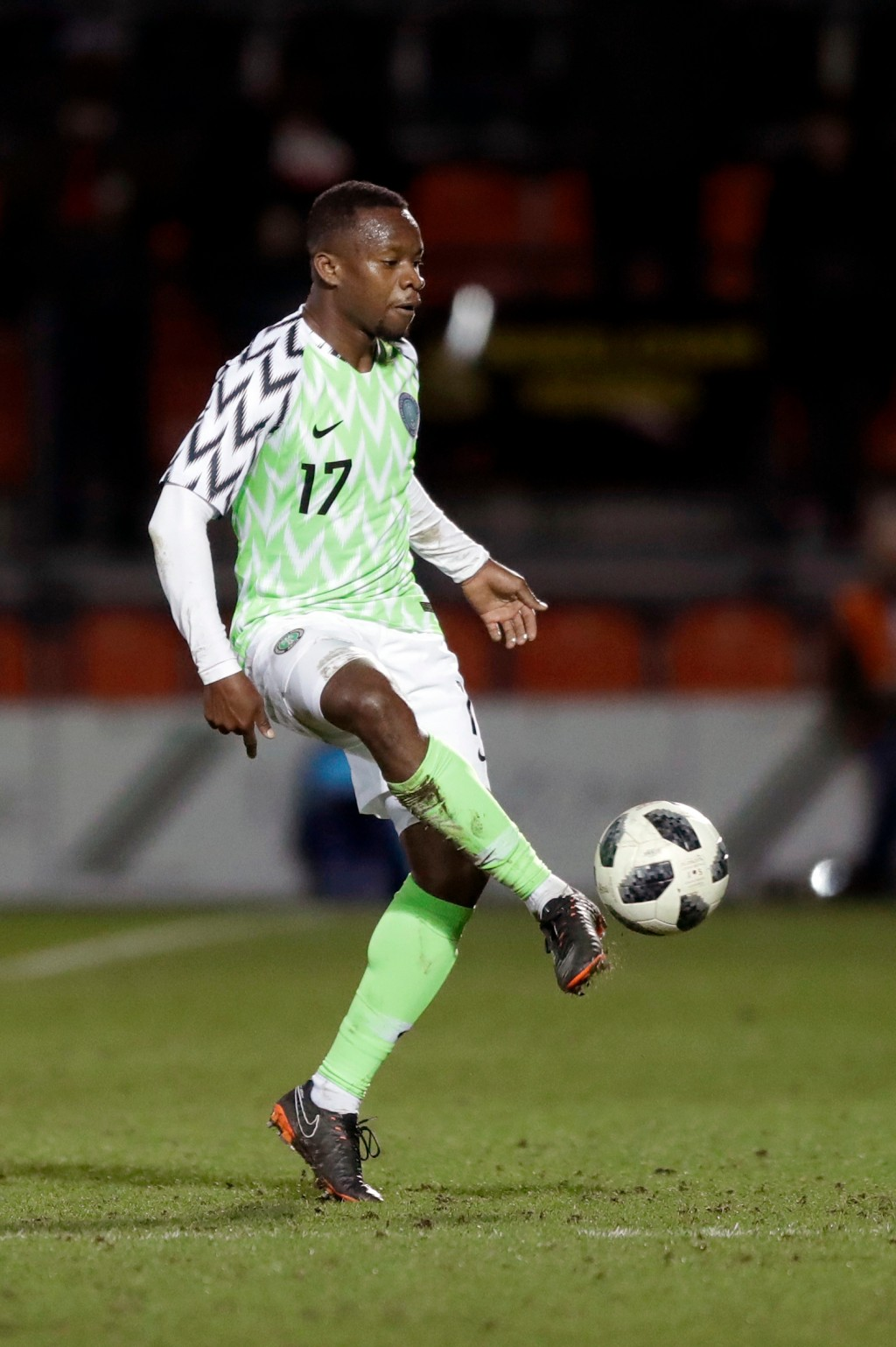 In this photo taken on Tuesday, March 27, 2018, Nigeria's Ogenyi Onazi kicks the ball during the international friendly soccer match between Serbia an...