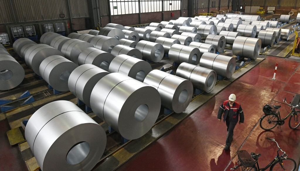 Steel coils are stored at the Thyssenkrupp steel factory in Duisburg, Germany, Friday, April 27, 2018. Duisburg is the biggest steel producer site in ...