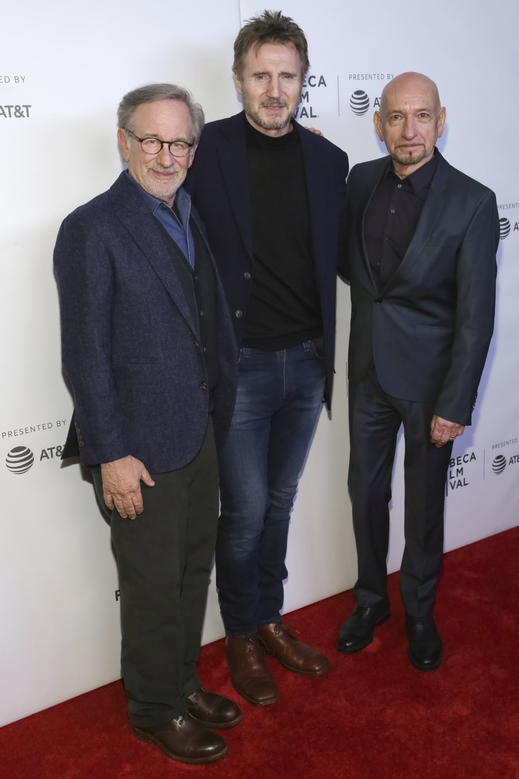 """Director Steven Spielberg, left, and actors Liam Neeson and Ben Kingsley, right, attend the """"Schindler's List"""" 25th anniversary screening during the T..."""