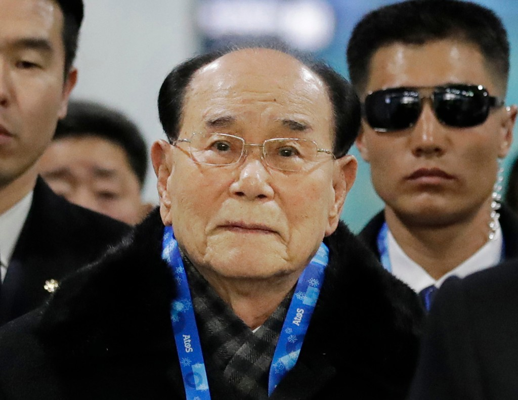 FILE - In this Feb. 9, 2018, file photo, North Korea's nominal head of state Kim Yong Nam, center, arrives at the Jinbu train station in Pyeongchang, ...