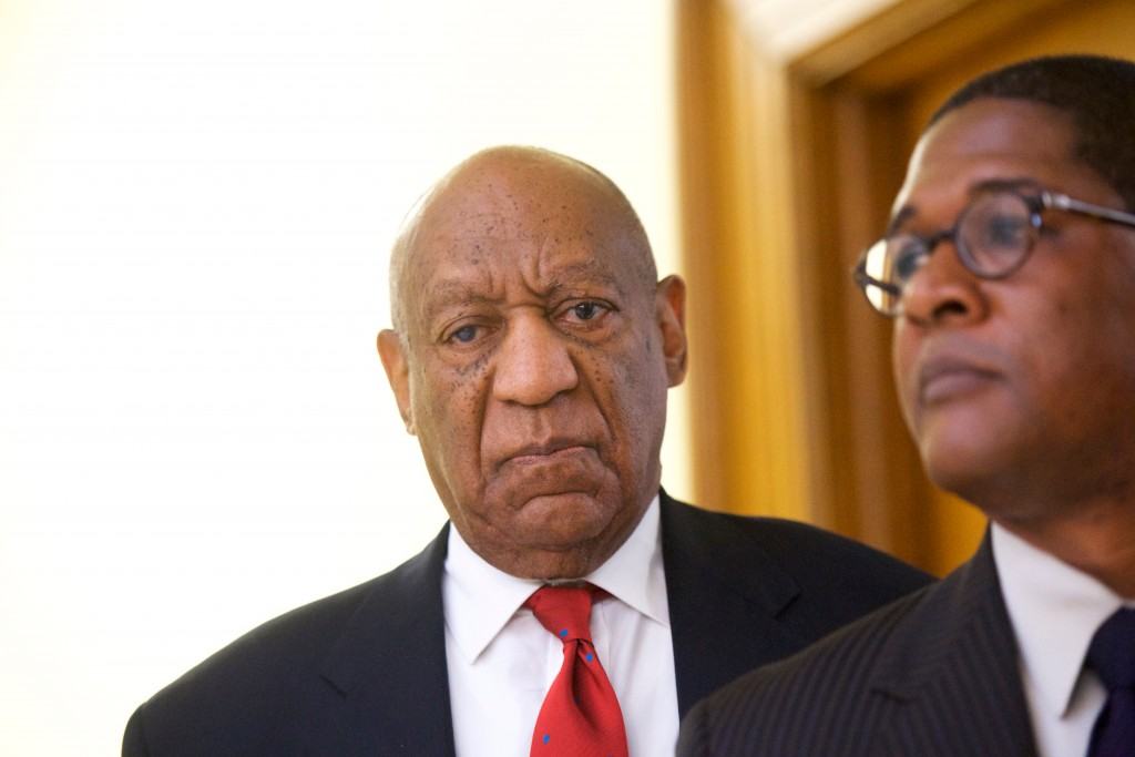Actor and comedian Bill Cosby reacts while being notified a verdict was in in his sexual assault retrial, Thursday, April, 26, 2018, at the Montgomery...