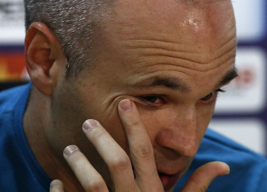 F.C. Barcelona player Andres Iniesta during a news conference announcing he is leaving the club, in Barcelona, Spain, Friday, April. 27, 2018. Andres ...