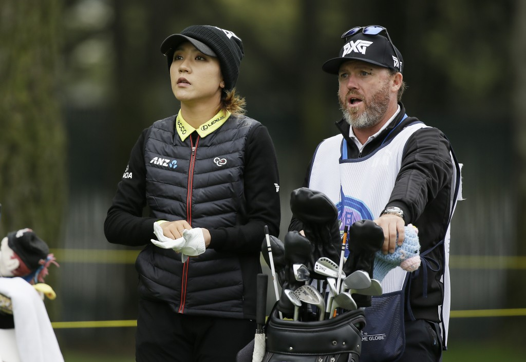 Lydia Ko, of New Zealand, waits to hit from the 16th tee of the Lake Merced Golf Club during the first round of the LPGA Mediheal Championship golf to...