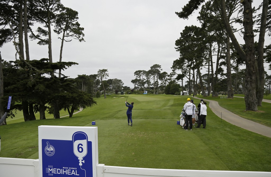 Dani Holmqvist, of Sweden, follows her shot from the sixth tee of the Lake Merced Golf Club during the first round of the LPGA Mediheal Championship g...