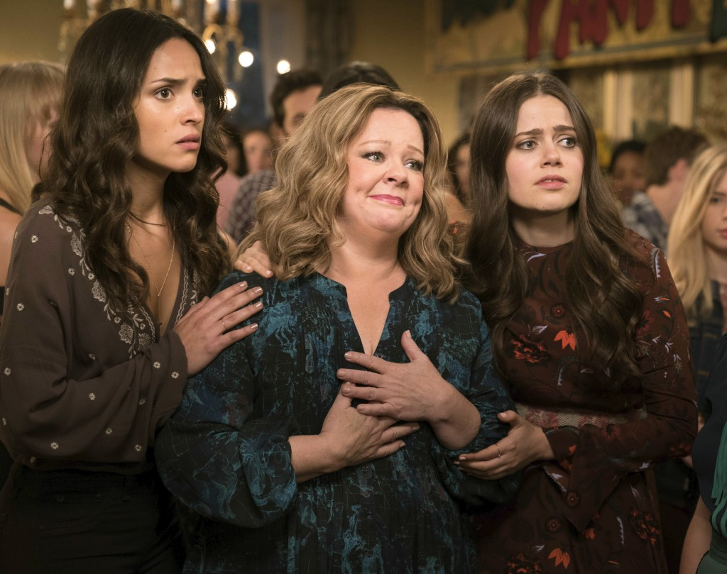 """This image released by Warner Bros. Pictures shows, from left, Adria Arjoni, Melissa McCarthy and Molly Gordon in a scene from """"Life of the Party,"""" in..."""