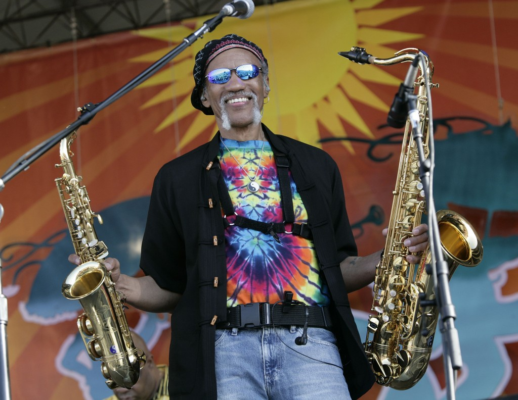 FILE - In a May 4, 2008 file photo, Charles Neville arrives with The Neville Brothers on stage to perform during the 2008 New Orleans Jazz & Heritage ...