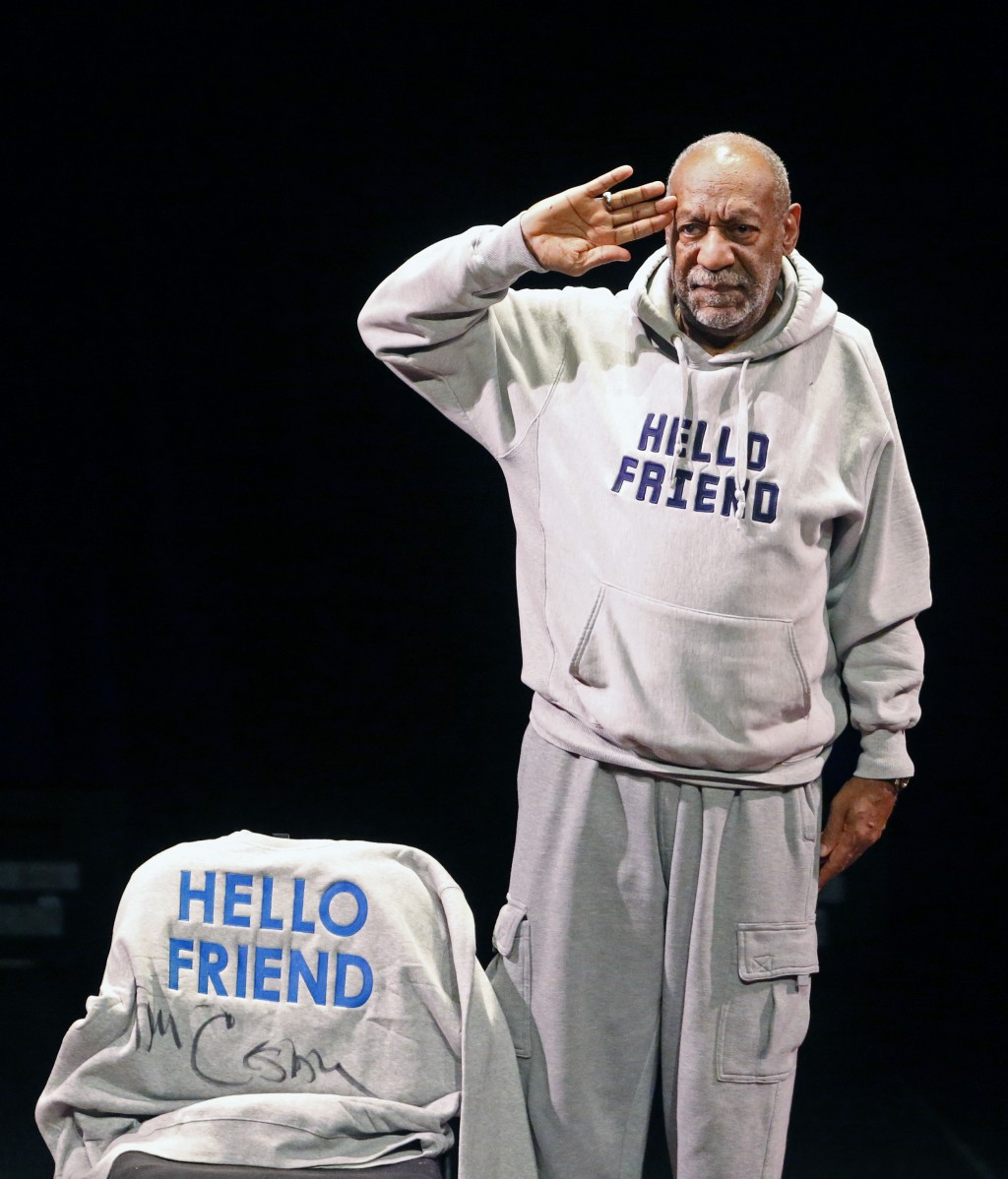 FILE - In this Jan. 17, 2015 file photo, comedian Bill Cosby salutes the crowd as he begins a performance in Denver. On Thursday, April 26, 2018, Cosb...