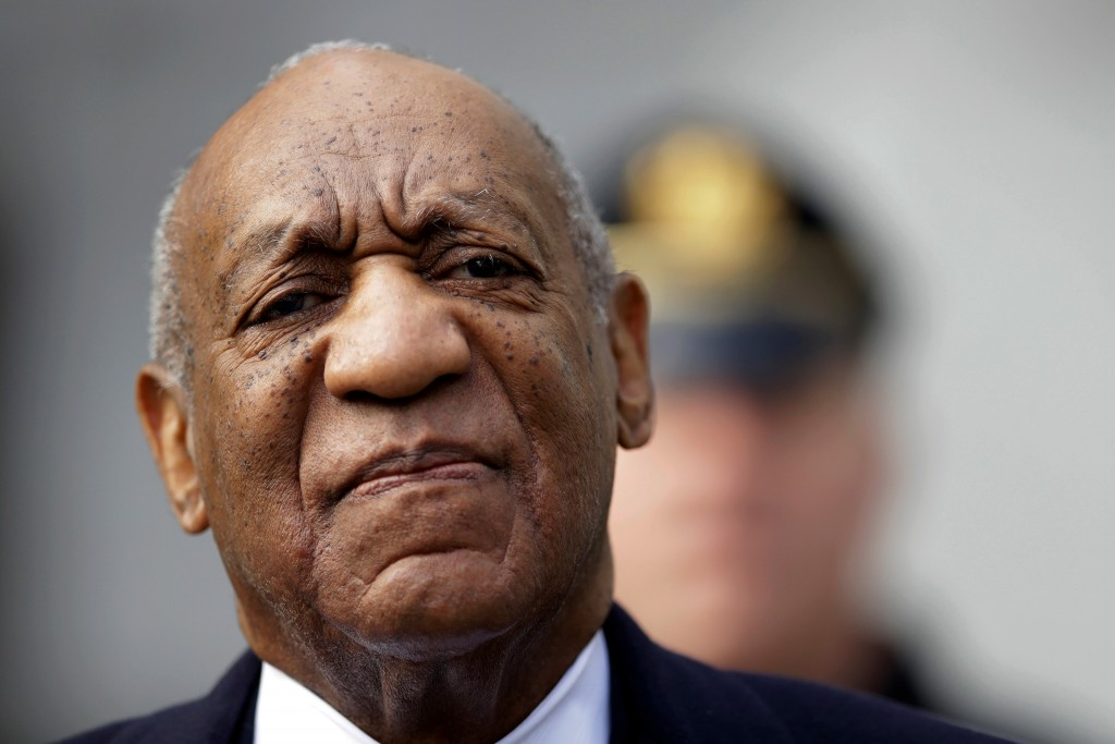FILE - In this April 18, 2018 file photo, Bill Cosby arrives for his sexual assault trial at the Montgomery County Courthouse in Norristown, Pa. The p...