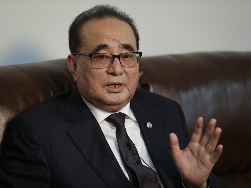 In this April 23, 2016, file photo, then North Korean Foreign Minister Ri Su Yong answers questions during an interview in New York. Ri is the top Wor...