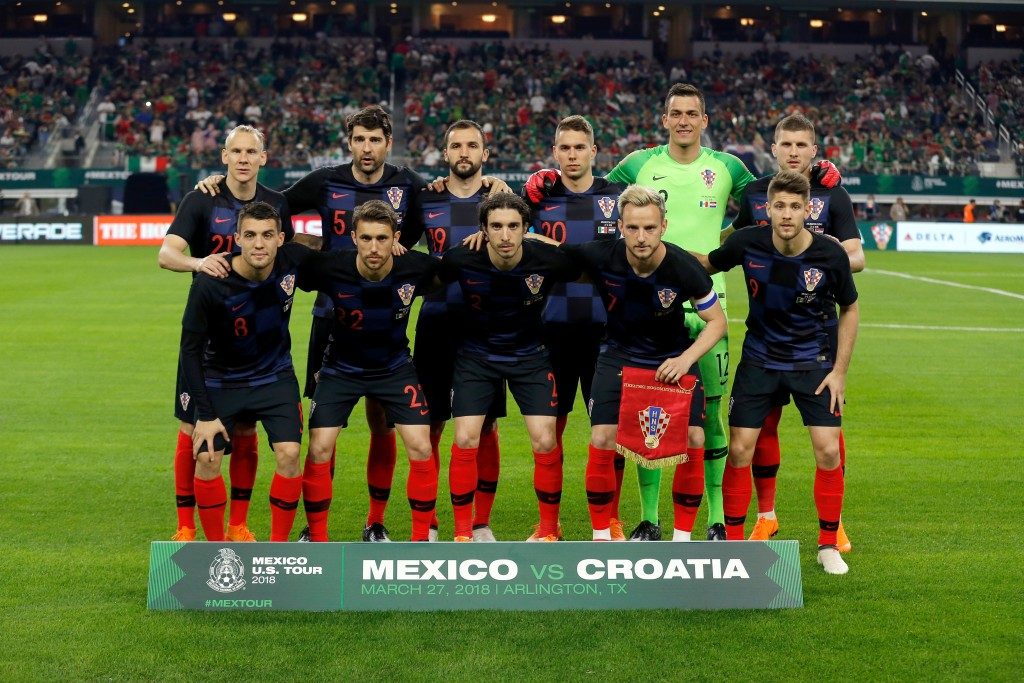 FILE - In this photo taken on Tuesday, March 27, 2018, the starters for Croatia pose for a photo before an international friendly soccer match against...