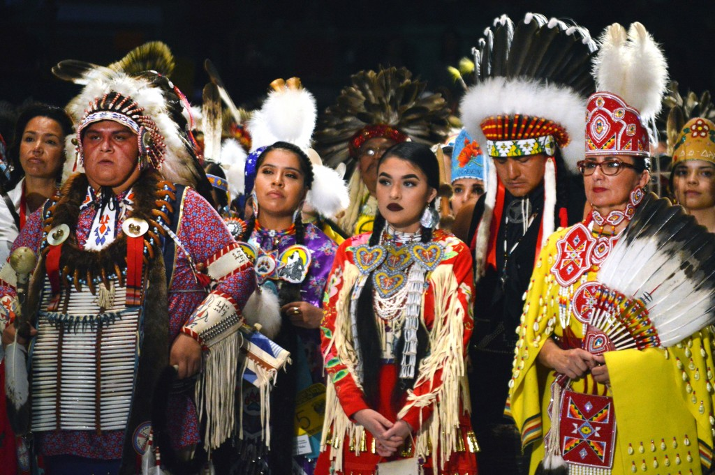 FILE--In this April 28, 2017, file photo, Native American dancers from the United States and Canada take part in the grand entry to the Gathering of N...