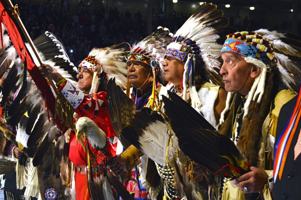 FILE--In this April 28, 2017 file photo, a group of Native American elders lead the grand entry to the Gathering of Nations in Albuquerque, N.M. The G...