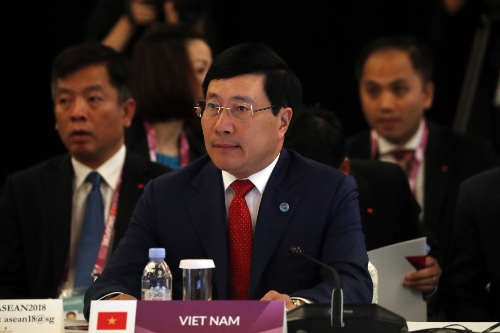 Vietnam's Deputy Prime Minister and Minister of Foreign Affairs, Pham Binh Minh, waits for the start of the ASEAN Foreign Minister's Meeting at the 32...