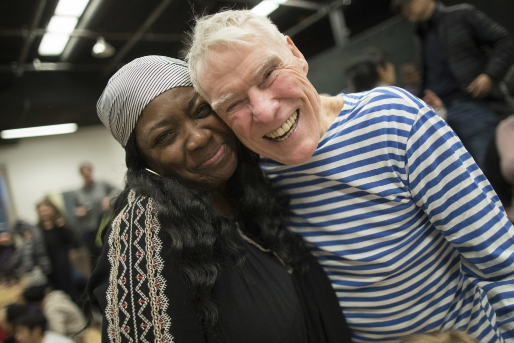 In this March 3, 2018 photo, dancer-choreographer Jacques d'Amboise, right, poses with a supporter during the National Dance Institute alumni homecomi...